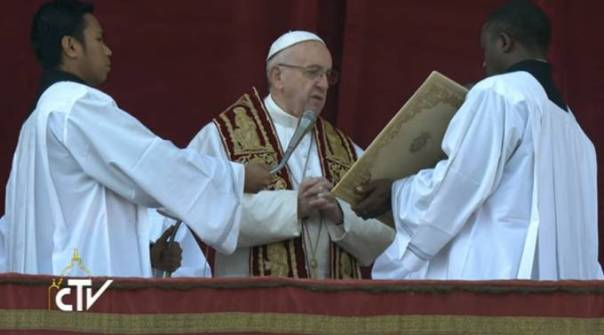 El Papa durante el mensaje de Navidad y la Bendición. Foto: Captura Youtube